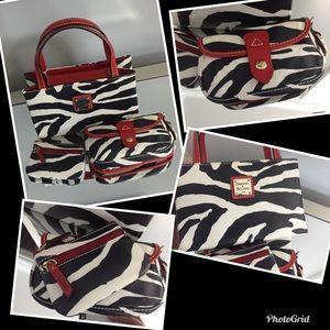 Dooney & Bourke 3pc. Set -  Zebra With Red Trim